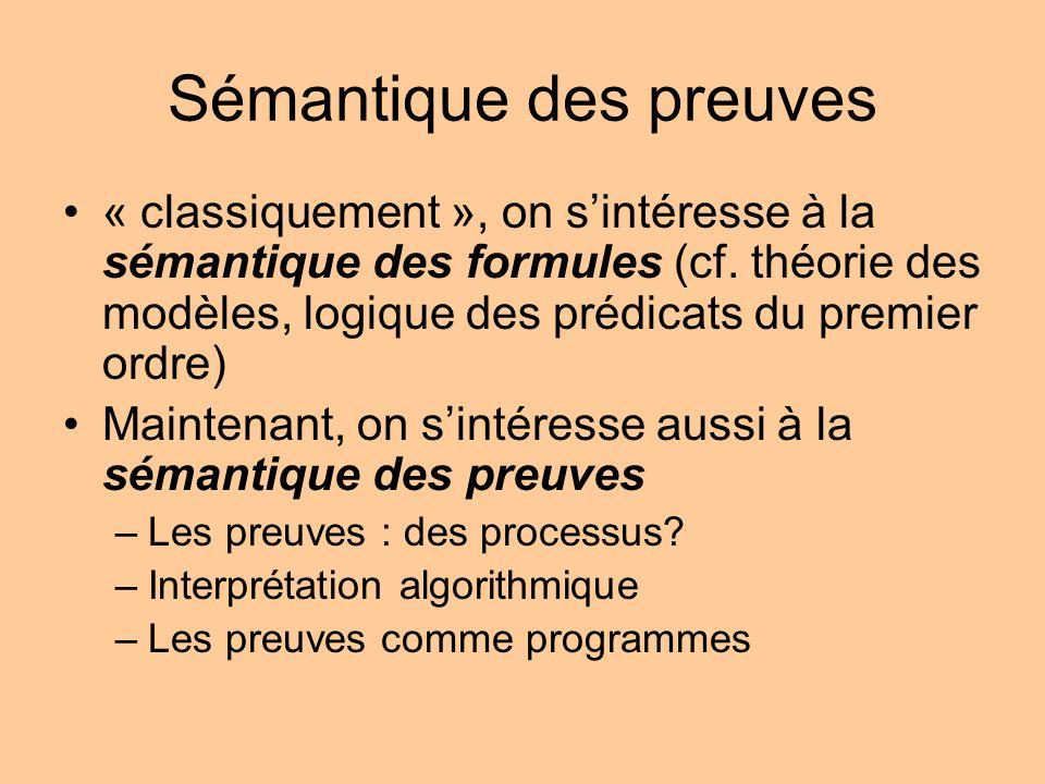 Sémantique des preuves « classiquement », on sintéresse à la sémantique des formules (cf.