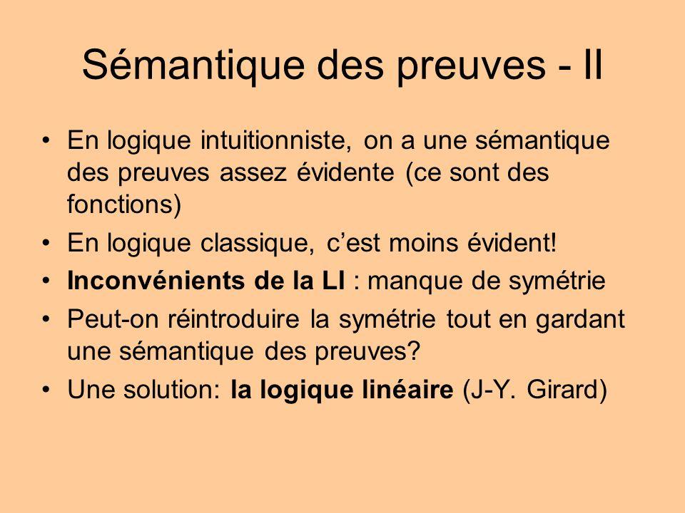 Sémantique des preuves - II En logique intuitionniste, on a une sémantique des preuves assez évidente (ce sont des fonctions) En logique classique, cest moins évident.