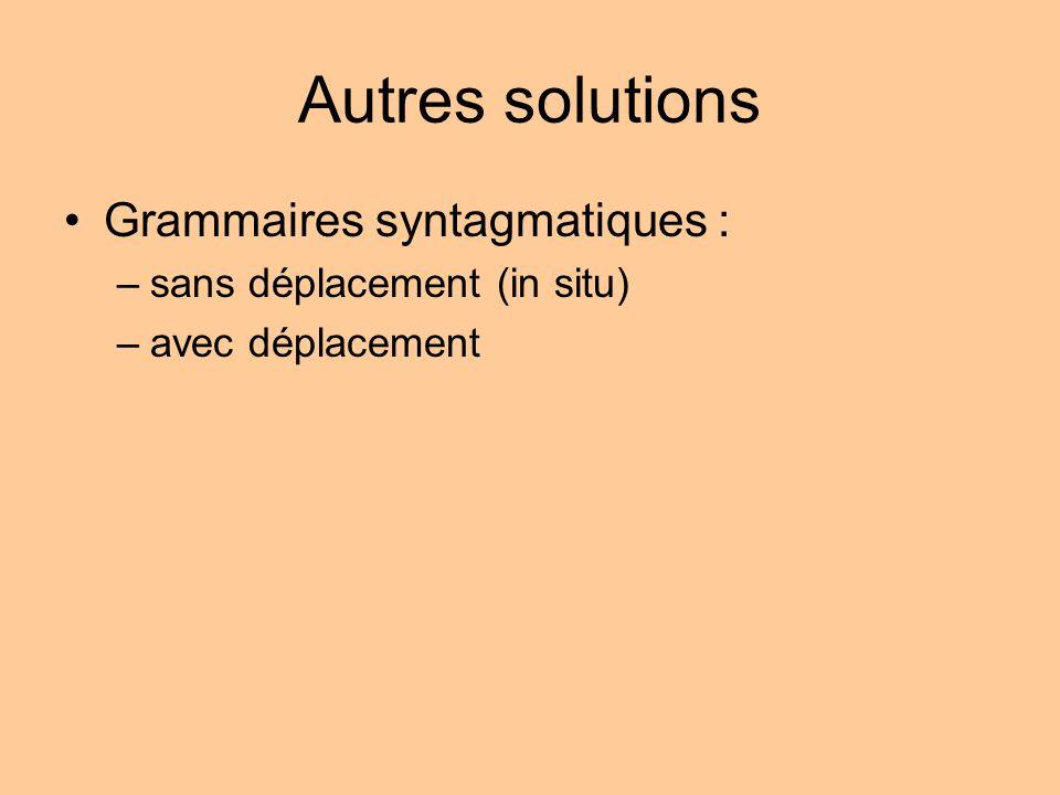 Autres solutions Grammaires syntagmatiques : –sans déplacement (in situ) –avec déplacement