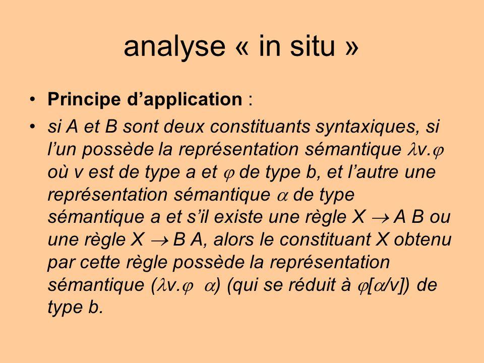 analyse « in situ » Principe dapplication : si A et B sont deux constituants syntaxiques, si lun possède la représentation sémantique v. où v est de t