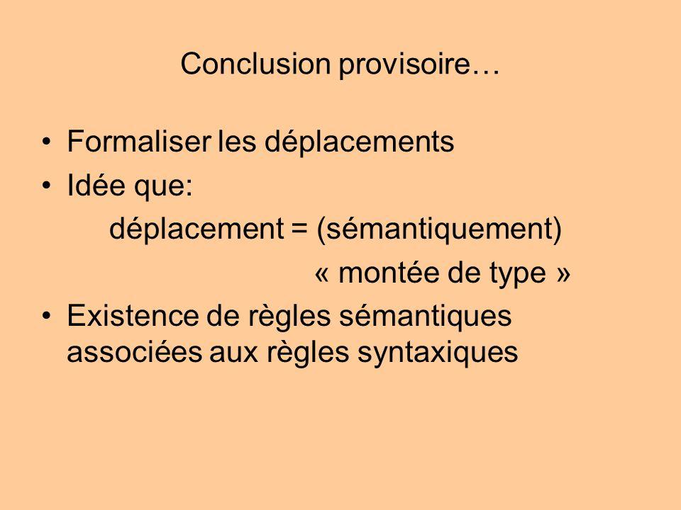 Conclusion provisoire… Formaliser les déplacements Idée que: déplacement = (sémantiquement) « montée de type » Existence de règles sémantiques associé