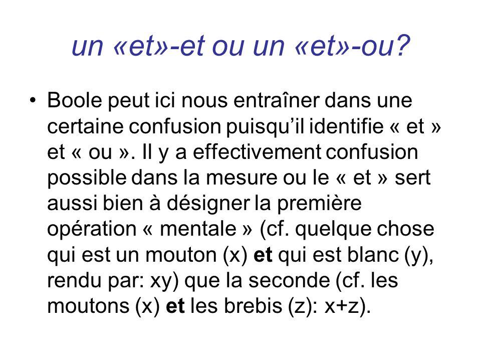 un «et»-et ou un «et»-ou? Boole peut ici nous entraîner dans une certaine confusion puisquil identifie « et » et « ou ». Il y a effectivement confusio
