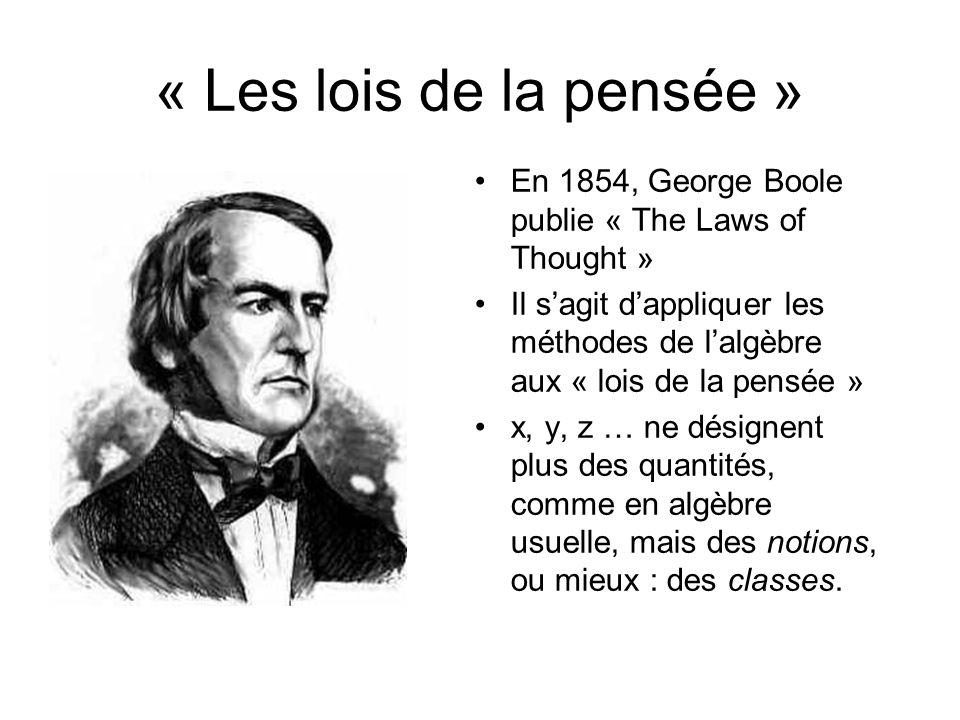 « Les lois de la pensée » En 1854, George Boole publie « The Laws of Thought » Il sagit dappliquer les méthodes de lalgèbre aux « lois de la pensée »