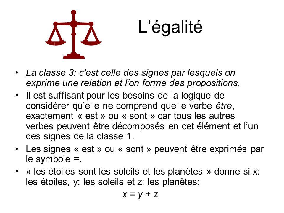 Légalité La classe 3: cest celle des signes par lesquels on exprime une relation et lon forme des propositions. Il est suffisant pour les besoins de l