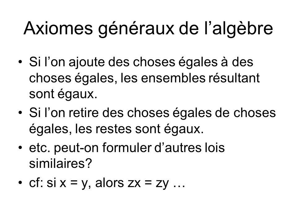Axiomes généraux de lalgèbre Si lon ajoute des choses égales à des choses égales, les ensembles résultant sont égaux. Si lon retire des choses égales