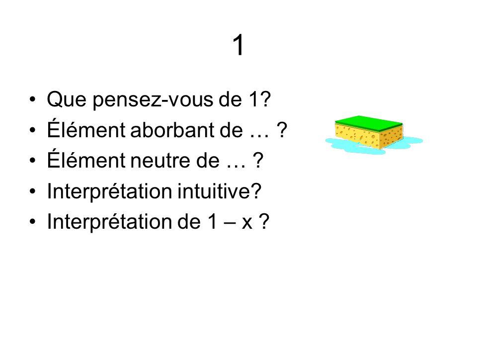 1 Que pensez-vous de 1? Élément aborbant de … ? Élément neutre de … ? Interprétation intuitive? Interprétation de 1 – x ?