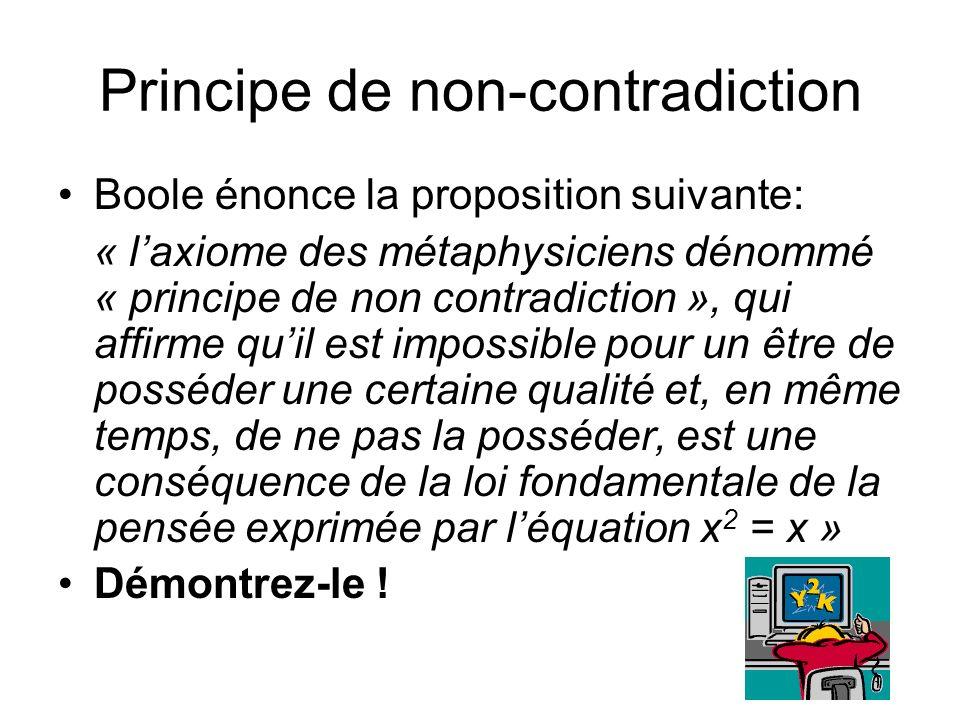 Principe de non-contradiction Boole énonce la proposition suivante: « laxiome des métaphysiciens dénommé « principe de non contradiction », qui affirm