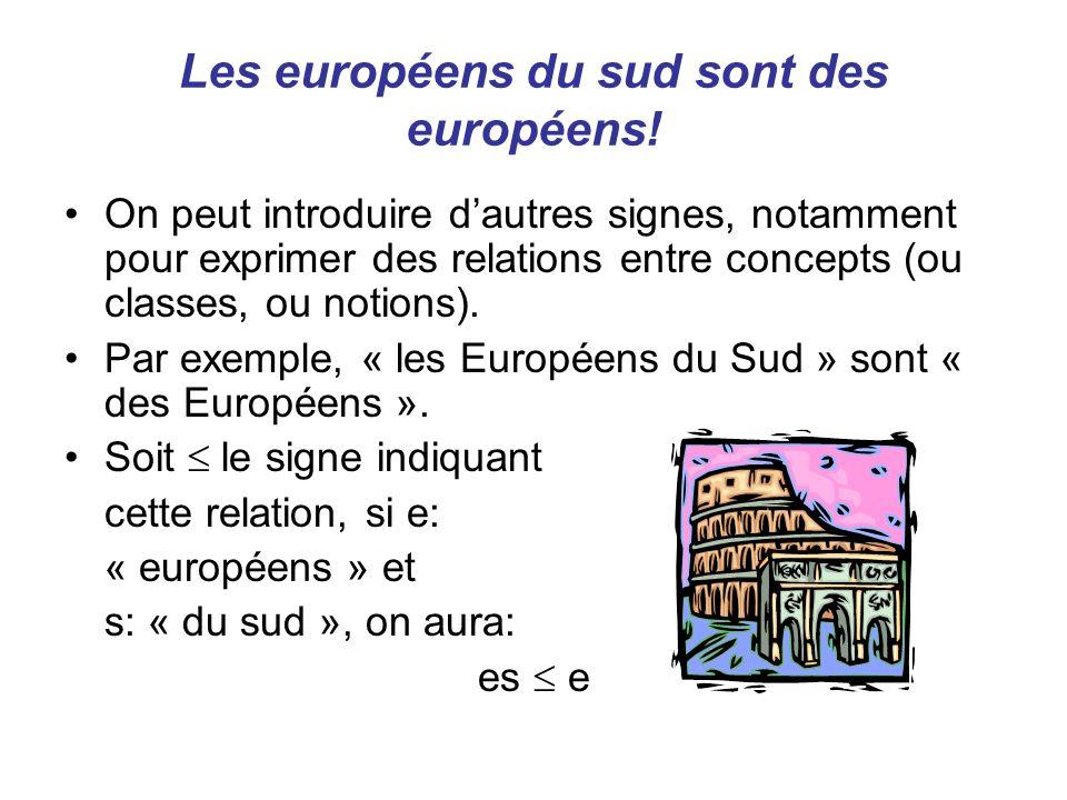Les européens du sud sont des européens! On peut introduire dautres signes, notamment pour exprimer des relations entre concepts (ou classes, ou notio