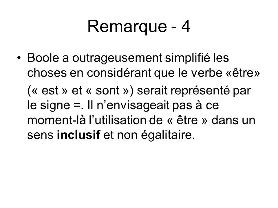 Remarque - 4 Boole a outrageusement simplifié les choses en considérant que le verbe «être» (« est » et « sont ») serait représenté par le signe =. Il