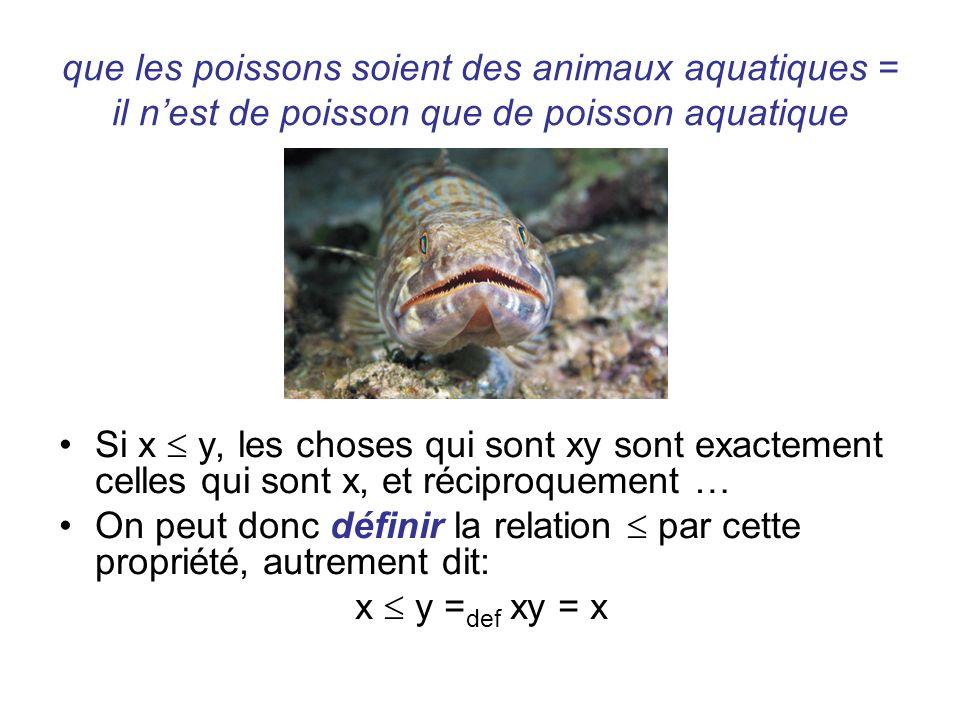que les poissons soient des animaux aquatiques = il nest de poisson que de poisson aquatique Si x y, les choses qui sont xy sont exactement celles qui