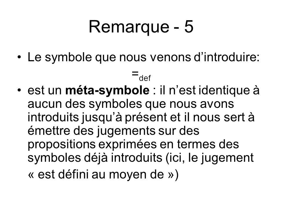 Remarque - 5 Le symbole que nous venons dintroduire: = def est un méta-symbole : il nest identique à aucun des symboles que nous avons introduits jusq