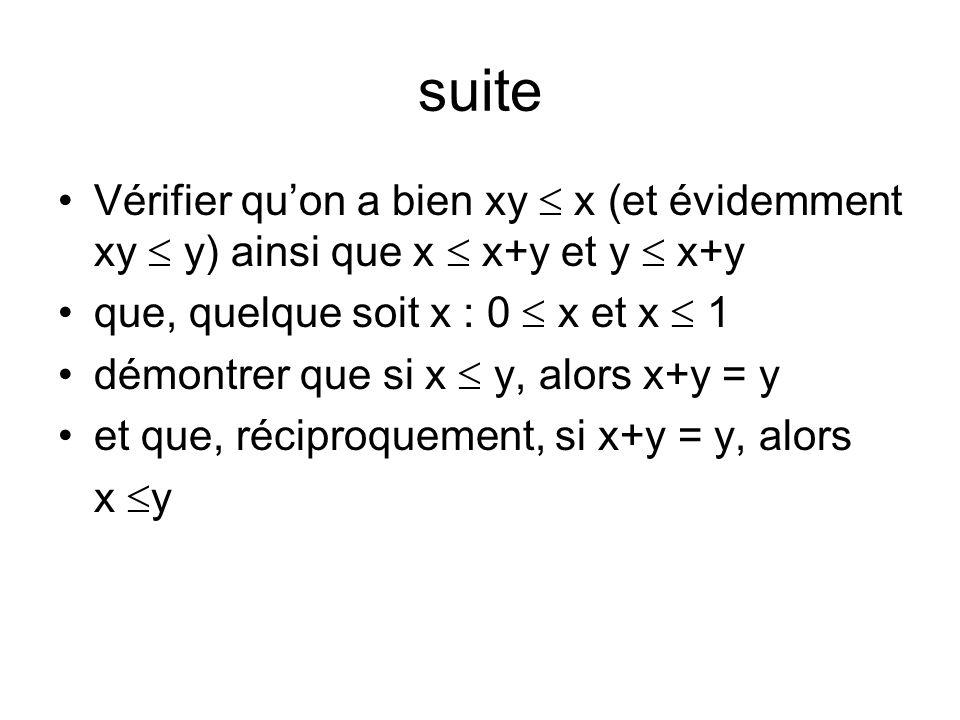 suite Vérifier quon a bien xy x (et évidemment xy y) ainsi que x x+y et y x+y que, quelque soit x : 0 x et x 1 démontrer que si x y, alors x+y = y et