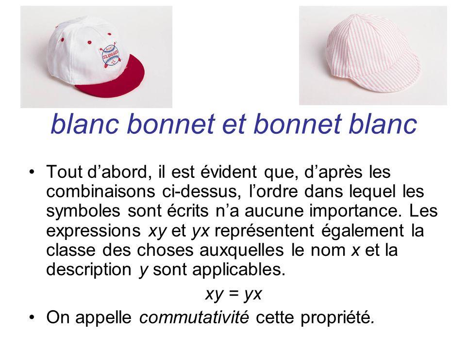 blanc bonnet et bonnet blanc Tout dabord, il est évident que, daprès les combinaisons ci-dessus, lordre dans lequel les symboles sont écrits na aucune