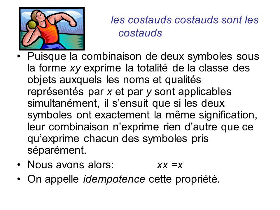 les costauds costauds sont les costauds Puisque la combinaison de deux symboles sous la forme xy exprime la totalité de la classe des objets auxquels