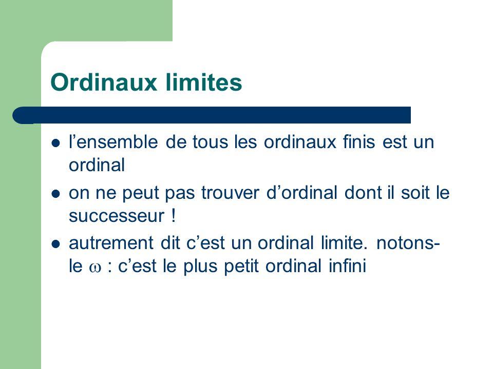 Ordinaux limites lensemble de tous les ordinaux finis est un ordinal on ne peut pas trouver dordinal dont il soit le successeur ! autrement dit cest u