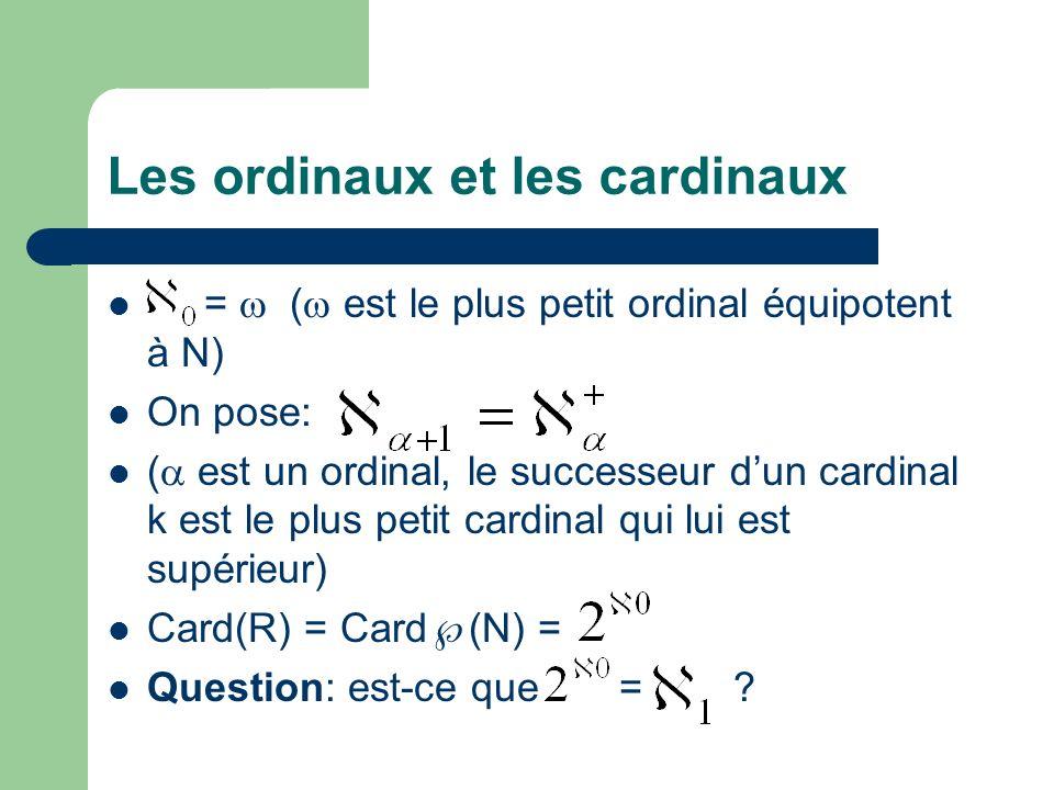 Les ordinaux et les cardinaux = ( est le plus petit ordinal équipotent à N) On pose: ( est un ordinal, le successeur dun cardinal k est le plus petit cardinal qui lui est supérieur) Card(R) = Card (N) = Question: est-ce que = ?