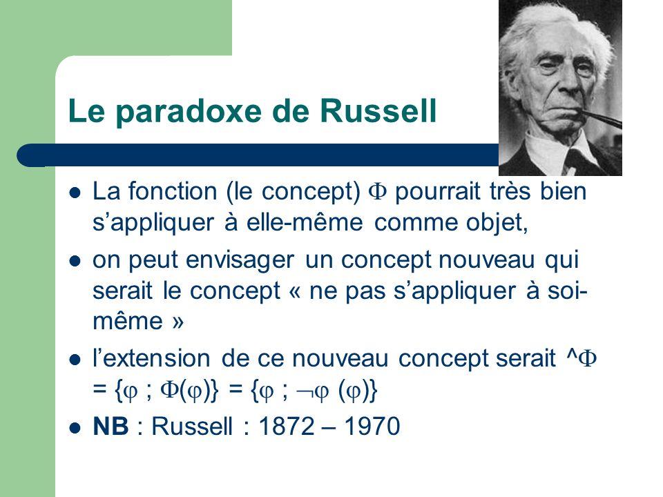 Le paradoxe de Russell La fonction (le concept) pourrait très bien sappliquer à elle-même comme objet, on peut envisager un concept nouveau qui serait le concept « ne pas sappliquer à soi- même » lextension de ce nouveau concept serait ^ = { ; ( )} = { ; ( )} NB : Russell : 1872 – 1970