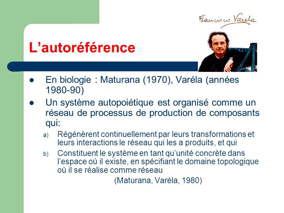 Lautoréférence En biologie : Maturana (1970), Varéla (années 1980-90) Un système autopoiétique est organisé comme un réseau de processus de production de composants qui: a) Régénèrent continuellement par leurs transformations et leurs interactions le réseau qui les a produits, et qui b) Constituent le système en tant quunité concrète dans lespace où il existe, en spécifiant le domaine topologique où il se réalise comme réseau (Maturana, Varéla, 1980)