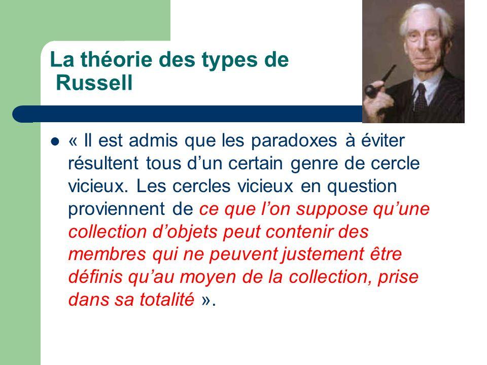 La théorie des types de Russell « Il est admis que les paradoxes à éviter résultent tous dun certain genre de cercle vicieux. Les cercles vicieux en q