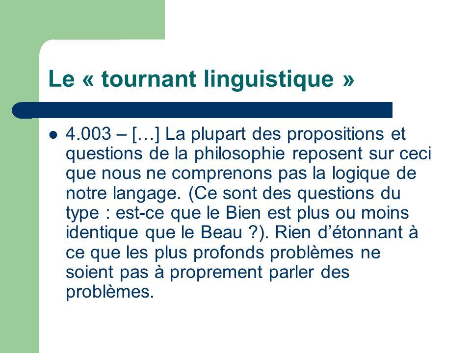 Le « tournant linguistique » 4.003 – […] La plupart des propositions et questions de la philosophie reposent sur ceci que nous ne comprenons pas la logique de notre langage.
