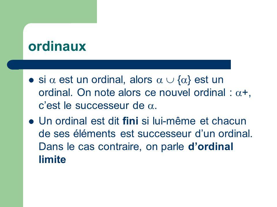 ordinaux si est un ordinal, alors { } est un ordinal. On note alors ce nouvel ordinal : +, cest le successeur de. Un ordinal est dit fini si lui-même