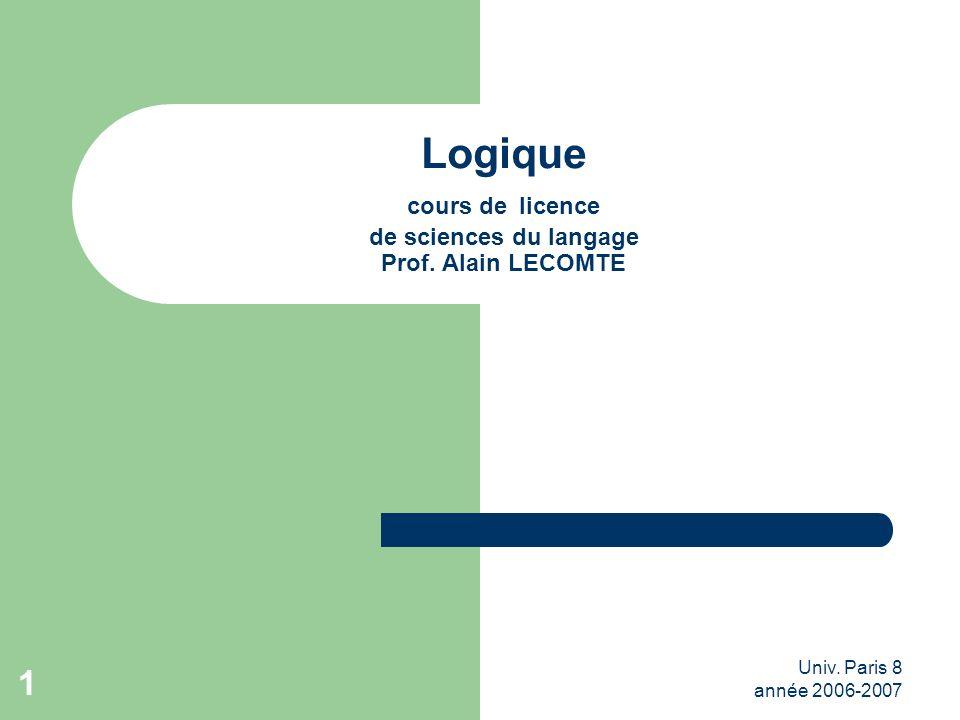 Univ. Paris 8 année 2006-2007 1 Logique cours de licence de sciences du langage Prof. Alain LECOMTE