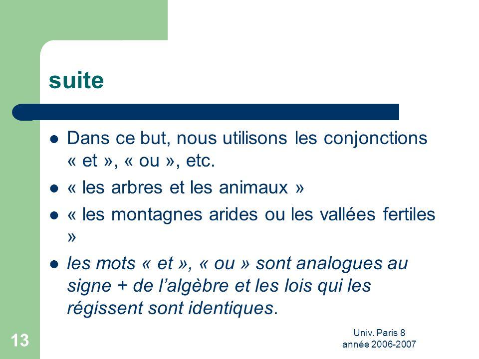 Univ. Paris 8 année 2006-2007 13 suite Dans ce but, nous utilisons les conjonctions « et », « ou », etc. « les arbres et les animaux » « les montagnes