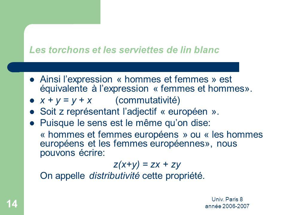 Univ. Paris 8 année 2006-2007 14 Les torchons et les serviettes de lin blanc Ainsi lexpression « hommes et femmes » est équivalente à lexpression « fe