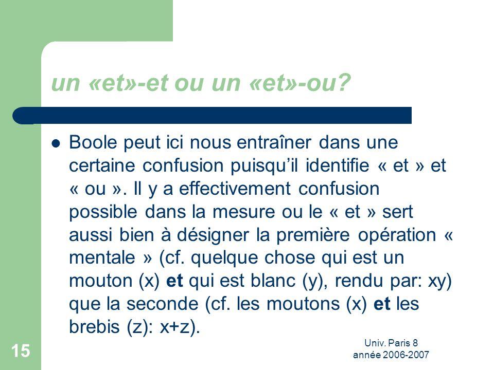 Univ. Paris 8 année 2006-2007 15 un «et»-et ou un «et»-ou? Boole peut ici nous entraîner dans une certaine confusion puisquil identifie « et » et « ou