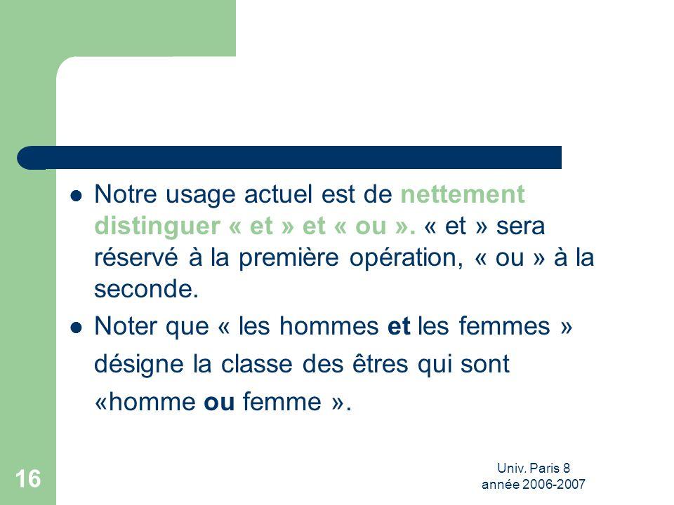 Univ. Paris 8 année 2006-2007 16 Notre usage actuel est de nettement distinguer « et » et « ou ». « et » sera réservé à la première opération, « ou »