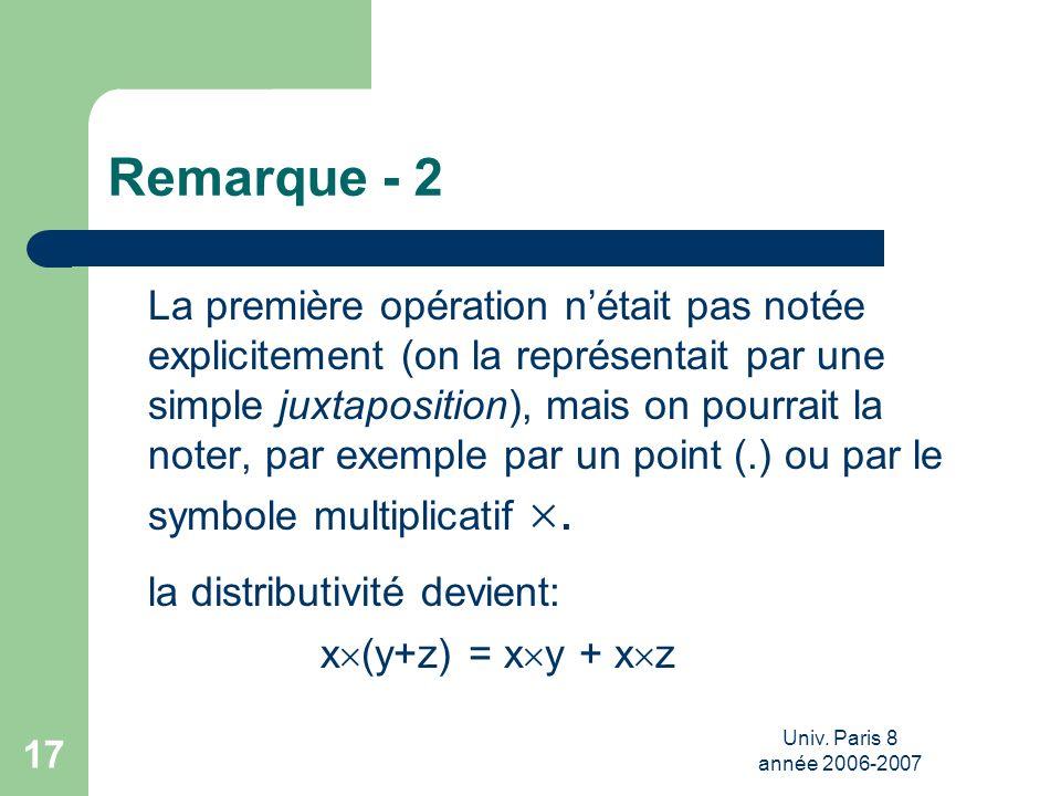 Univ. Paris 8 année 2006-2007 17 Remarque - 2 La première opération nétait pas notée explicitement (on la représentait par une simple juxtaposition),