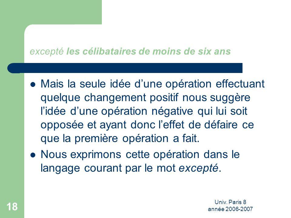 Univ. Paris 8 année 2006-2007 18 excepté les célibataires de moins de six ans Mais la seule idée dune opération effectuant quelque changement positif
