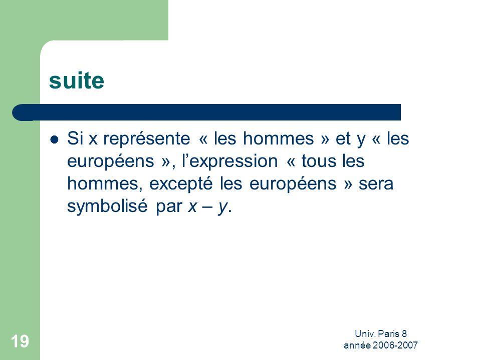 Univ. Paris 8 année 2006-2007 19 suite Si x représente « les hommes » et y « les européens », lexpression « tous les hommes, excepté les européens » s