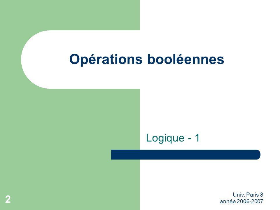 Univ. Paris 8 année 2006-2007 2 Opérations booléennes Logique - 1