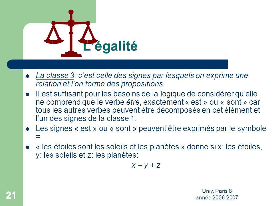 Univ. Paris 8 année 2006-2007 21 Légalité La classe 3: cest celle des signes par lesquels on exprime une relation et lon forme des propositions. Il es