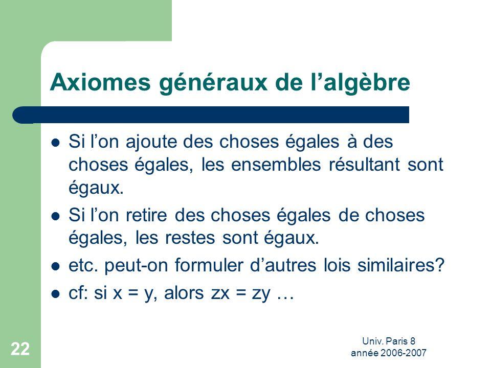 Univ. Paris 8 année 2006-2007 22 Axiomes généraux de lalgèbre Si lon ajoute des choses égales à des choses égales, les ensembles résultant sont égaux.