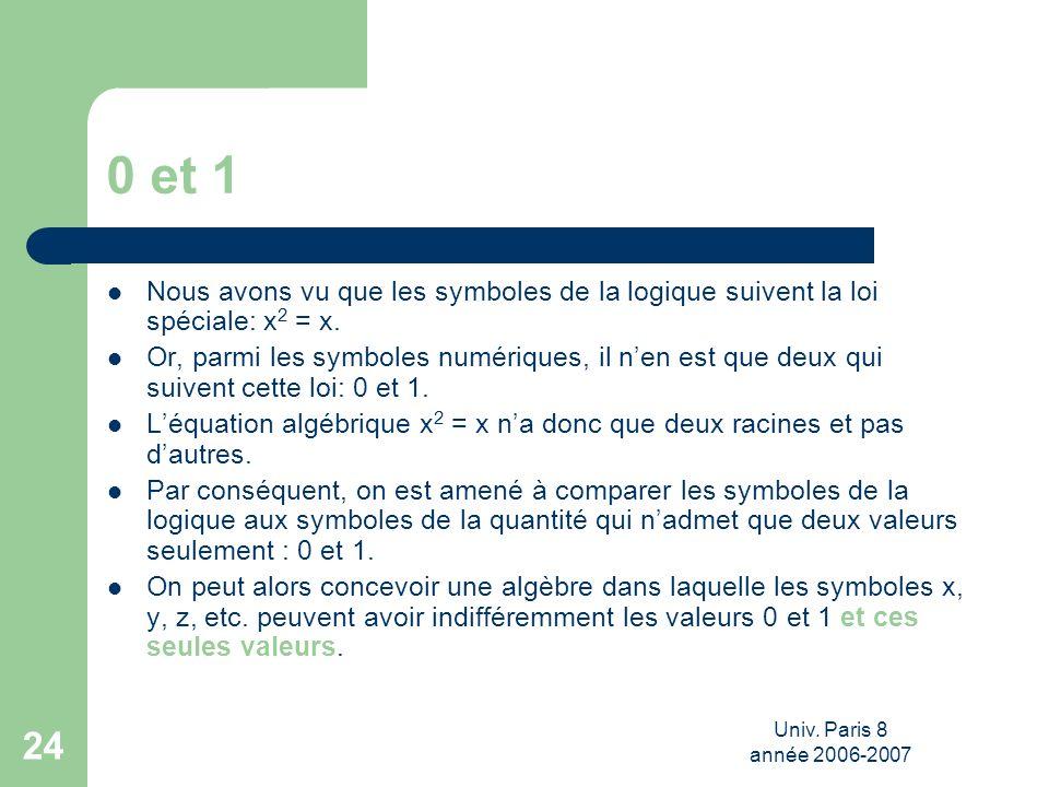 Univ. Paris 8 année 2006-2007 24 0 et 1 Nous avons vu que les symboles de la logique suivent la loi spéciale: x 2 = x. Or, parmi les symboles numériqu