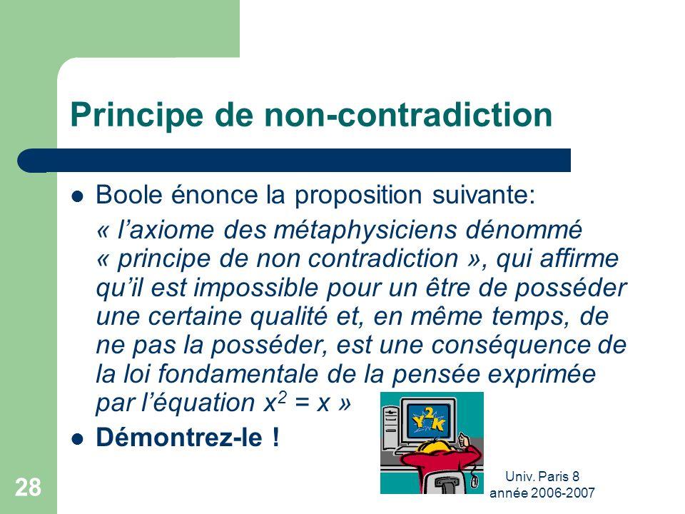 Univ. Paris 8 année 2006-2007 28 Principe de non-contradiction Boole énonce la proposition suivante: « laxiome des métaphysiciens dénommé « principe d