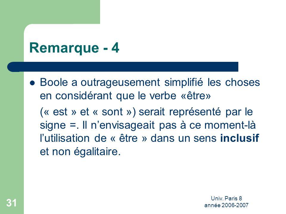 Univ. Paris 8 année 2006-2007 31 Remarque - 4 Boole a outrageusement simplifié les choses en considérant que le verbe «être» (« est » et « sont ») ser