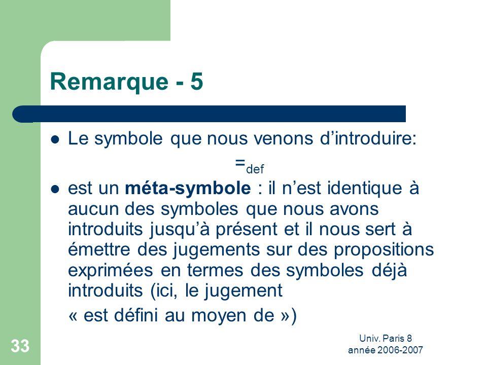 Univ. Paris 8 année 2006-2007 33 Remarque - 5 Le symbole que nous venons dintroduire: = def est un méta-symbole : il nest identique à aucun des symbol