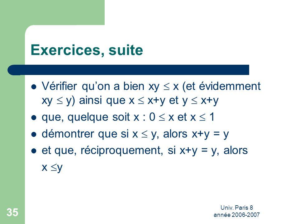 Univ. Paris 8 année 2006-2007 35 Exercices, suite Vérifier quon a bien xy x (et évidemment xy y) ainsi que x x+y et y x+y que, quelque soit x : 0 x et