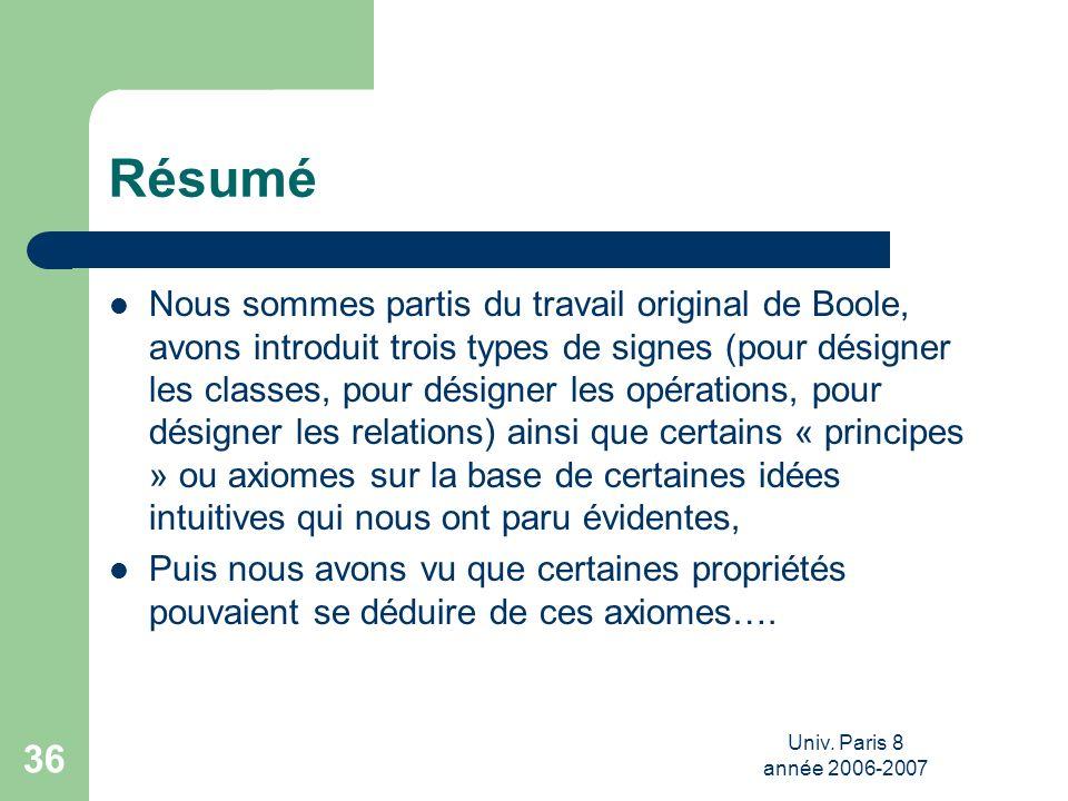 Univ. Paris 8 année 2006-2007 36 Résumé Nous sommes partis du travail original de Boole, avons introduit trois types de signes (pour désigner les clas