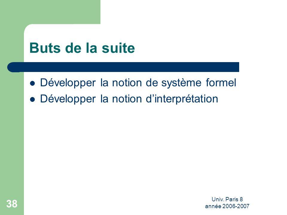 Univ. Paris 8 année 2006-2007 38 Buts de la suite Développer la notion de système formel Développer la notion dinterprétation