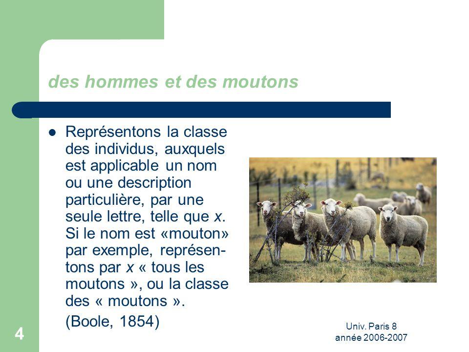 Univ. Paris 8 année 2006-2007 4 des hommes et des moutons Représentons la classe des individus, auxquels est applicable un nom ou une description part