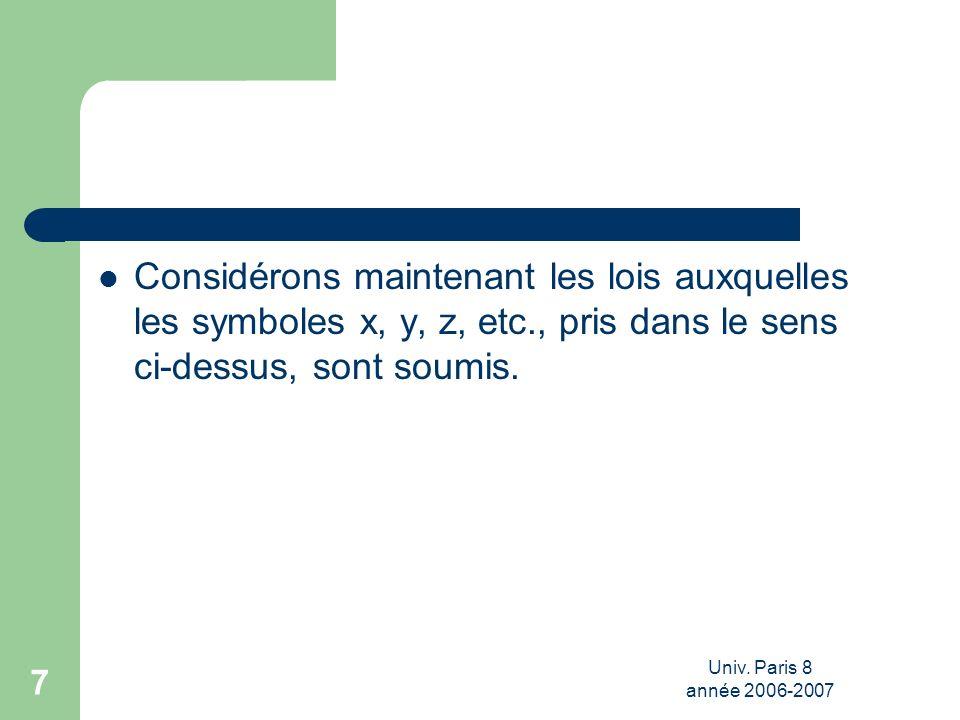 Univ. Paris 8 année 2006-2007 7 Considérons maintenant les lois auxquelles les symboles x, y, z, etc., pris dans le sens ci-dessus, sont soumis.