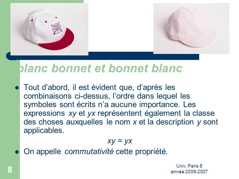 Univ. Paris 8 année 2006-2007 8 blanc bonnet et bonnet blanc Tout dabord, il est évident que, daprès les combinaisons ci-dessus, lordre dans lequel le