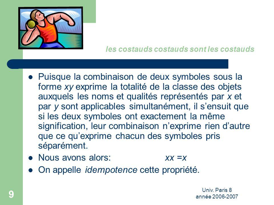 Univ. Paris 8 année 2006-2007 9 les costauds costauds sont les costauds Puisque la combinaison de deux symboles sous la forme xy exprime la totalité d