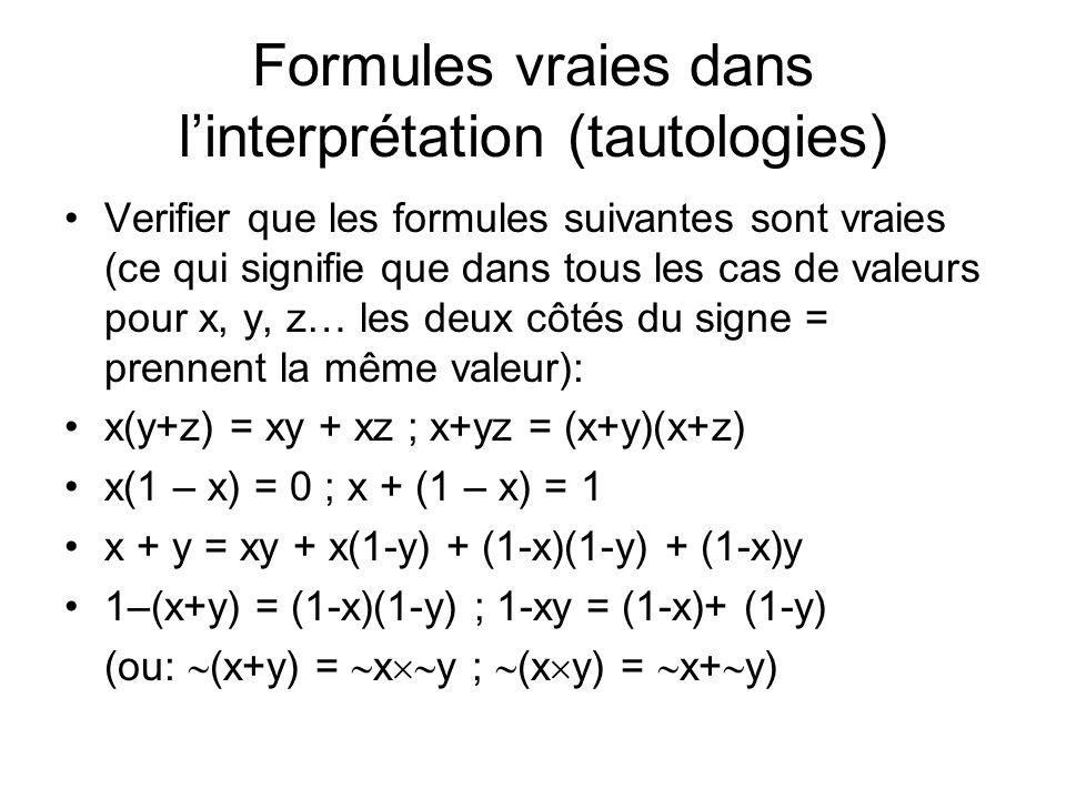Formules vraies dans linterprétation (tautologies) Verifier que les formules suivantes sont vraies (ce qui signifie que dans tous les cas de valeurs p