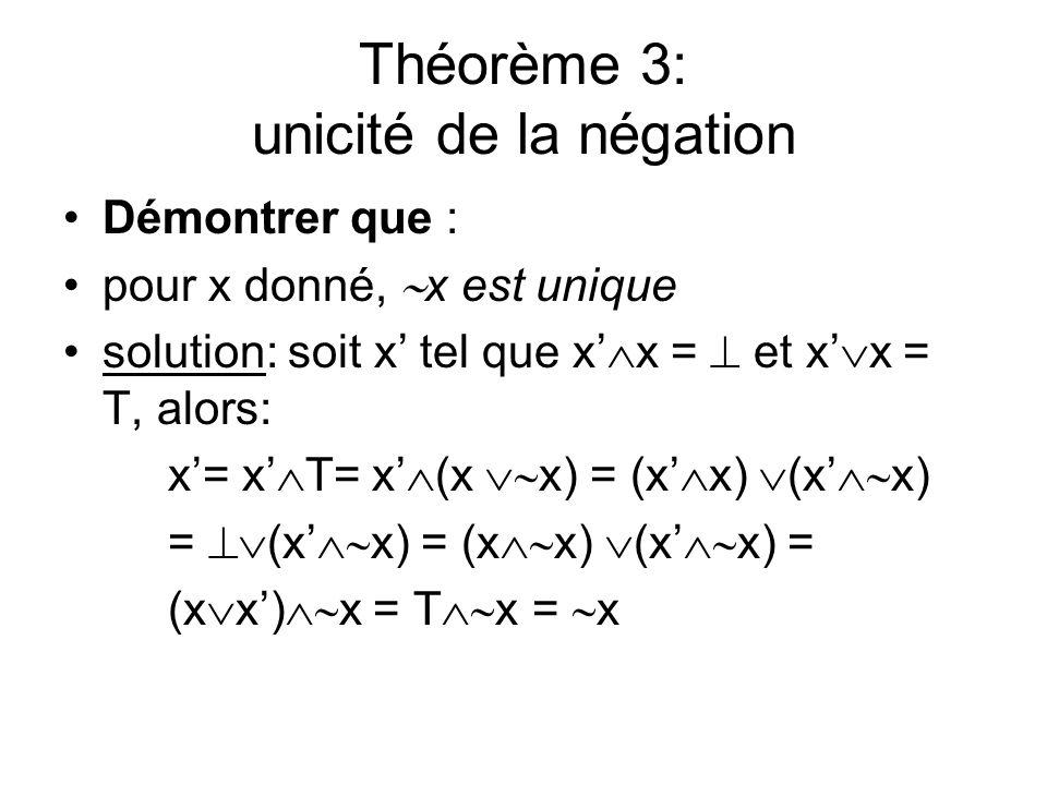 Théorème 3: unicité de la négation Démontrer que : pour x donné, x est unique solution: soit x tel que x x = et x x = T, alors: x= x T= x (x x) = (x x
