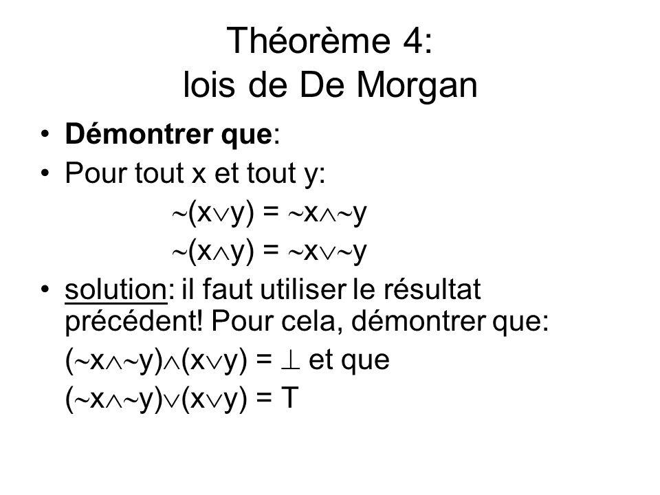 Théorème 4: lois de De Morgan Démontrer que: Pour tout x et tout y: (x y) = x y solution: il faut utiliser le résultat précédent! Pour cela, démontrer